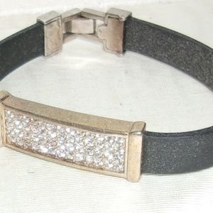 Jewelry - Stainless-Steel-amp-Black-Rubber-Sparkly-Rhinesto